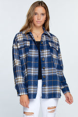 Nothing But Trouble Plaid Jacket Navy Blue