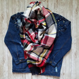 Fireside Plaid Blanket Scarf Blue and Red