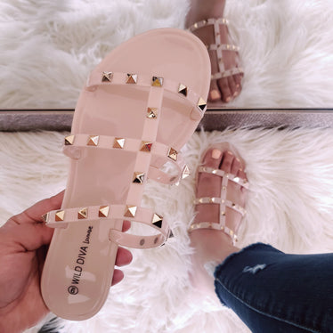 The Joanie Jelly Sandal Gold Stud Nude