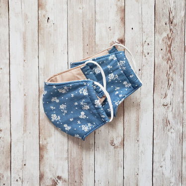 Reusable Cotton Face Mask Chambray Floral