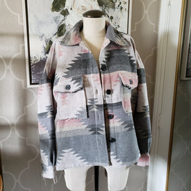 Eldora Aztec Jacket Blush Gray