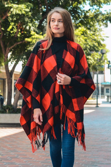 Buffalo Check Tassel Poncho Red and Black