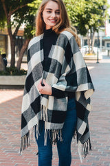 Buffalo Check Tassel Poncho Black and White