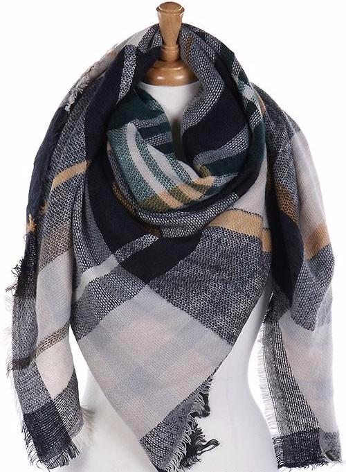 Classic Plaid Blanket Scarf Navy and Green