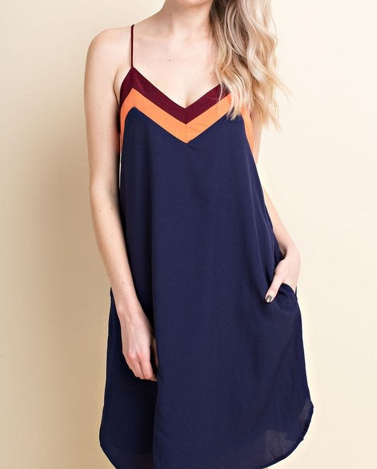 Navy Colorblock Dress