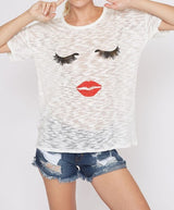 Eyelashes and Lips Tee