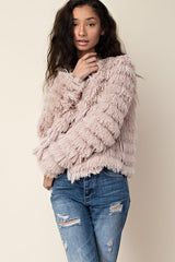 Elle Taupe Layered Faux Fur Jacket Taupe