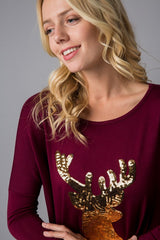 Gold Sequin Reindeer Top Tunic Burgundy Red