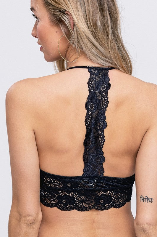 Sweet Dreams Lace Back Bralette Black
