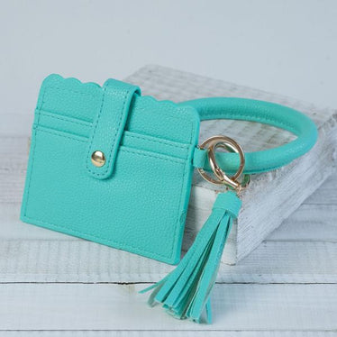 Bangle Key chain with Scalloped Edge Card Holder Mint