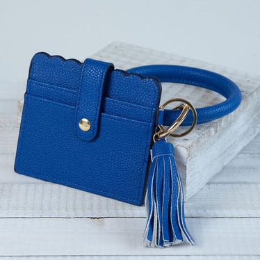 Bangle Key chain with Scalloped Edge Card Holder Royal Blue