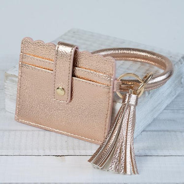 Bangle Key chain with Scalloped Edge Card Holder Rose Gold