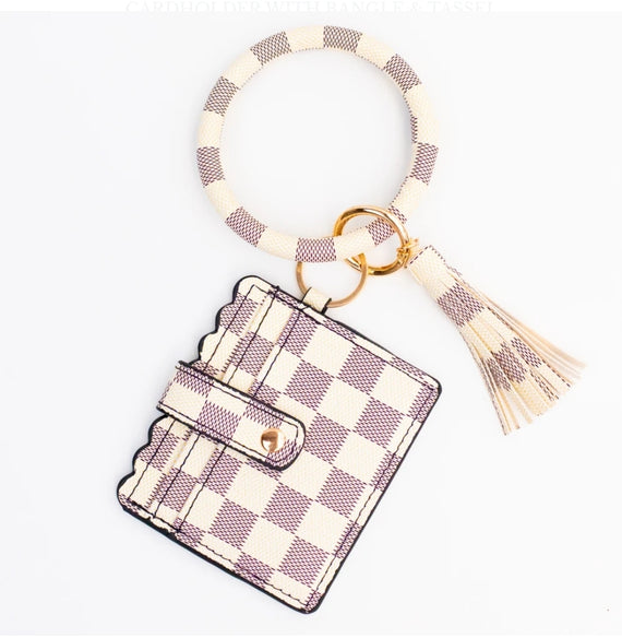 Bangle Key Chain with Scalloped Edge Card Holder Cream Checker