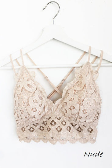 Sneak Peek Padded Lace Scalloped Bralette Nude