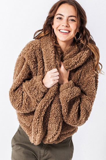 Hot Chocolate Faux Fur Hoodie Jacket