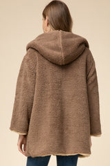 Reversible Teddy Sherpa Jacket Taupe
