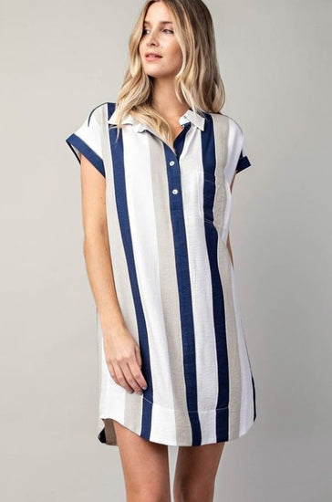 Cabo Dreaming Stripe Dress Navy