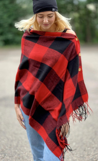 Button Shawl Scarf Buffalo Check Red