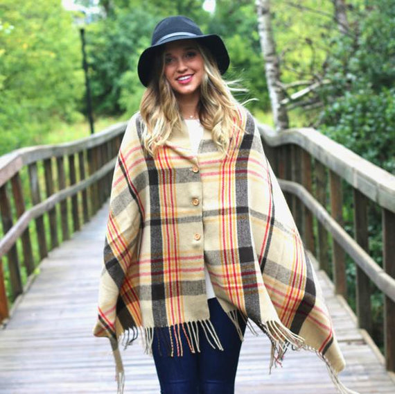Button Plaid Shawl Scarf Camel