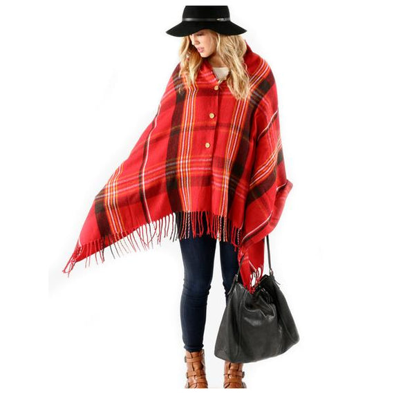 Button Plaid Shawl Scarf Red