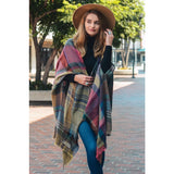 Multicolored Plaid Pocket Ruana (Fushia)