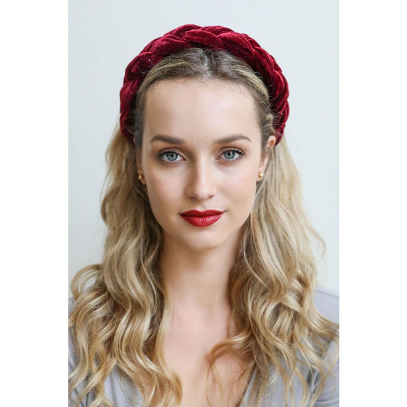 Braided Velvet Headband Burgundy