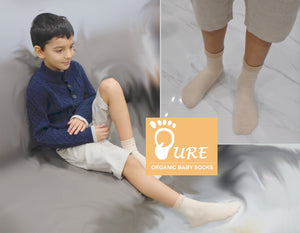 Pure 2 Pairs of Seamless Organic Cotton Toddler Socks