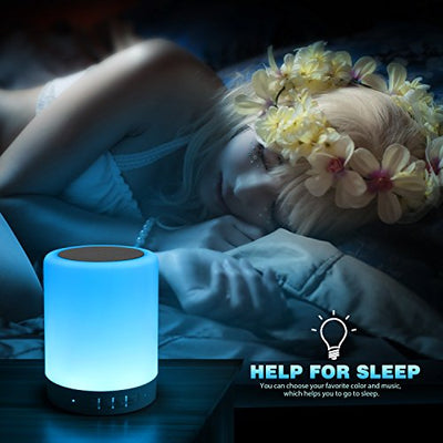 Touch Bedside Lamp - with Bluetooth Speaker, Dimmable Color Night Light, Outdoor Table Lamp with Smart Touch Control