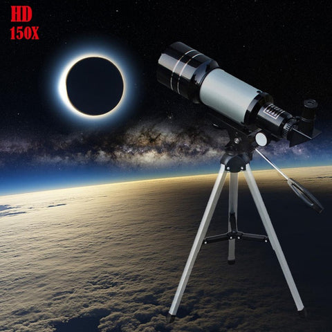 150X Professional Space Astronomical Monocular Telescope with Barlow Lens Eyepiece & Tripod & Moon Filter