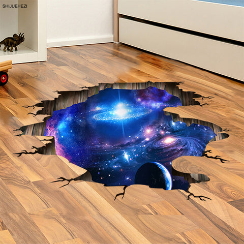 3D Cosmic Galaxy Planets Wall Sticker Outer Space Wall Poster