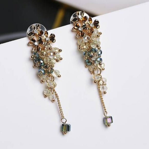 Crystal Beaded Flower Earrings