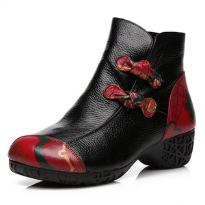 Two Knots - Printed Leather Ankle Boots