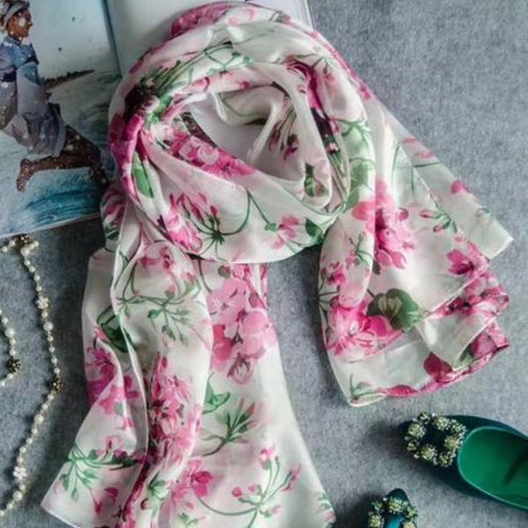 Apple Blossoms - Silk Scarf