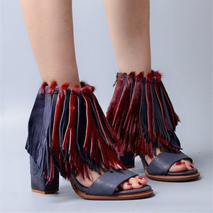 Genuine Leather Horsehair Fringed Sandals