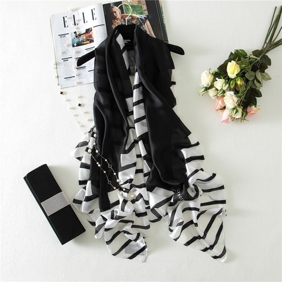 Striped Trim -  Silk Scarf