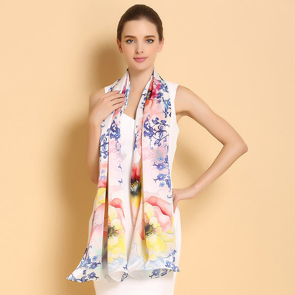Floral Mulberry Silk Scarf