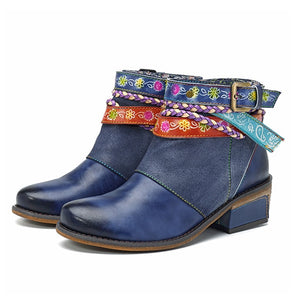 Belted Flowers - Leather Ankle Boots