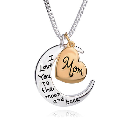 I love you mom Heart Moon Necklace