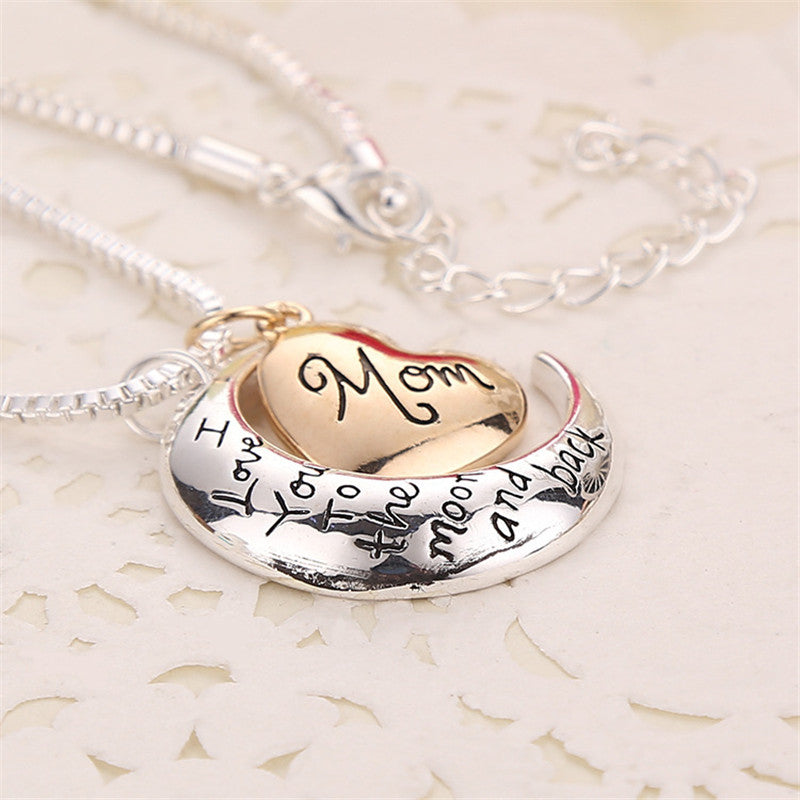 I love you mom Heart Moon Necklace - Kangaroo Buddy