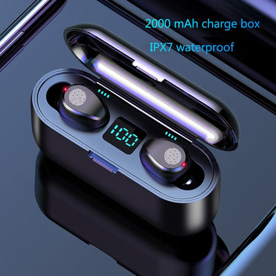 Wireless Earbuds with Chargebox LED Display (IPX-7 Waterproof)