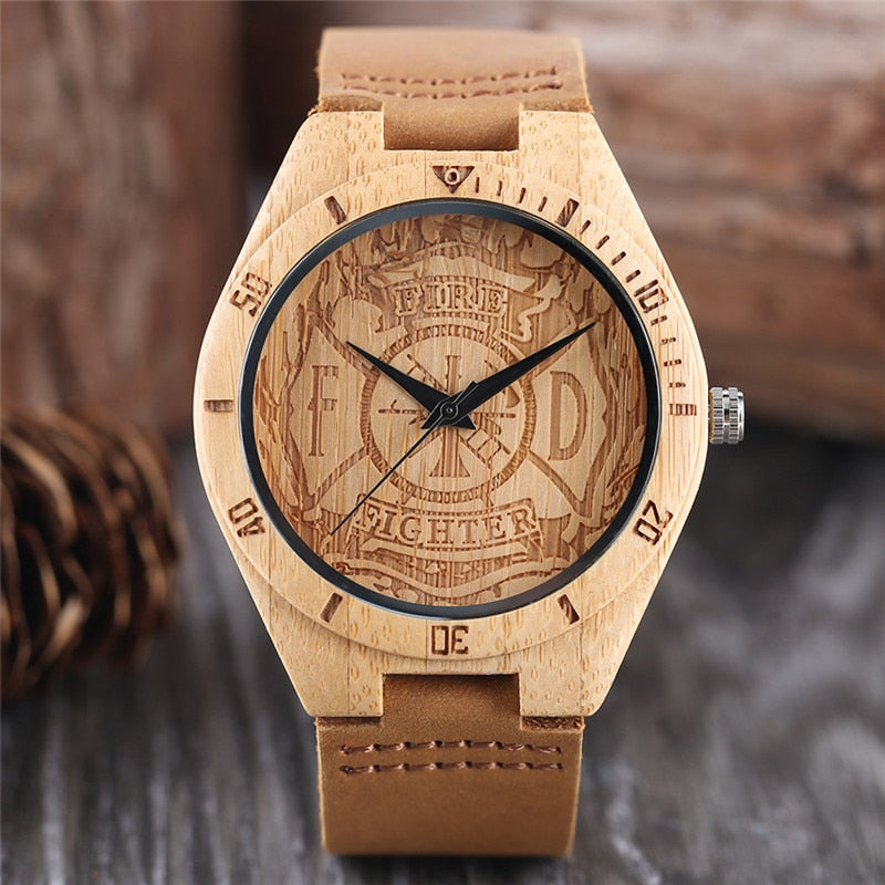 Engraved Bamboo Watch