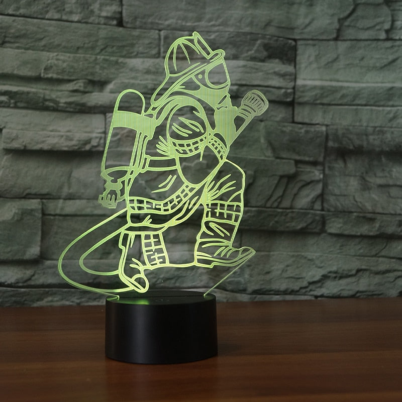 3D Fireman LED Table Lamp - Kangaroo Buddy