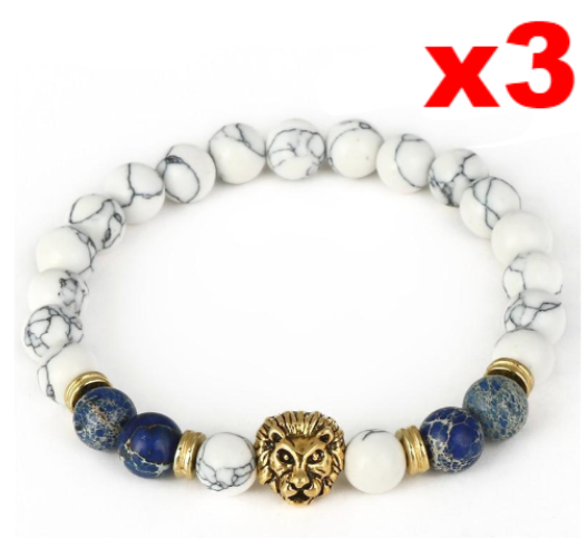 Lion Bracelet (White Natural Stone) - Kangaroo Buddy