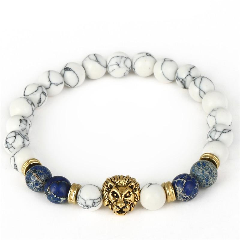 Lion Bracelet (White Natural Stone)