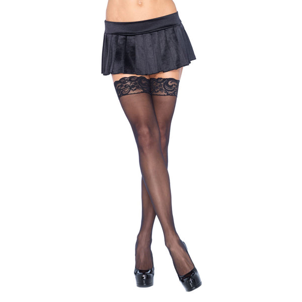 Leg Avenue Plus Size Sheer Thigh Highs Black UK 16 to 18 - Adult sex toys direct