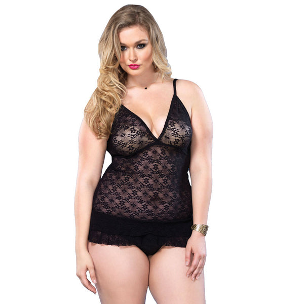 Leg Avenue Lace DeepV Halter Teddy UK 16 to 18 - Adult sex toys direct