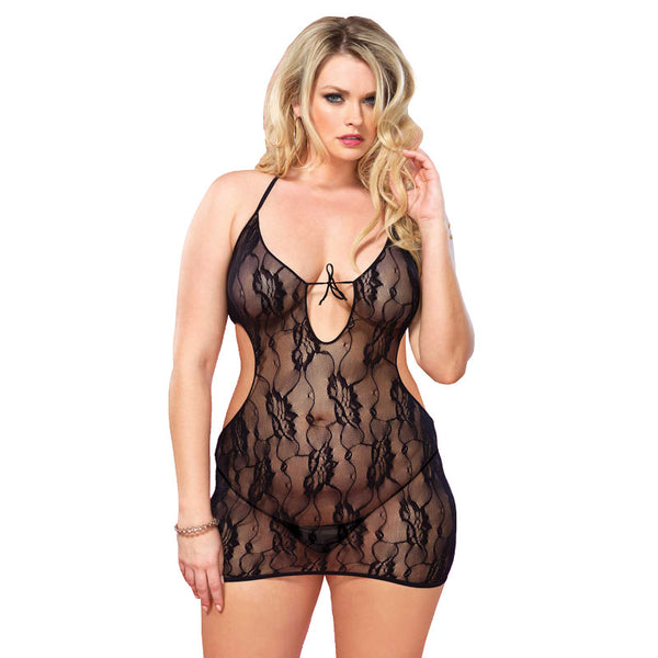 Leg Avenue Floral Lace Chemise UK 16 to 18 - Adult sex toys direct