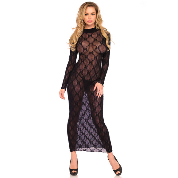 Leg Avenue Long Sleeved Long Dress UK 8 to 14 - Adult sex toys direct