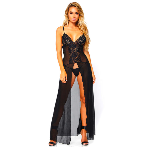 Leg Avenue Mesh And Lace High Slit Gown And String UK 8 to 14 - Adult sex toys direct