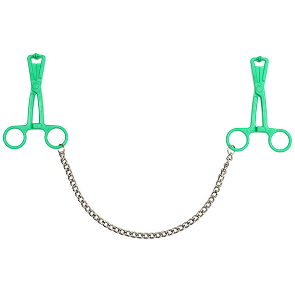 Green Scissor Nipple Clamps With Metal Chain - Adult sex toys direct